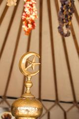 Metal islamic crescent moon icon