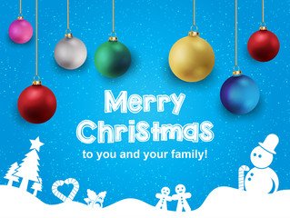 Merry Christmas and Happy New Year greeting card template.