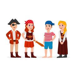 Group Children Dressing Pirates Kid Costumes Cute Cartoon Vector Illustration