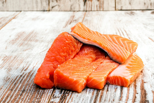 Salmon surrounded by rustic background