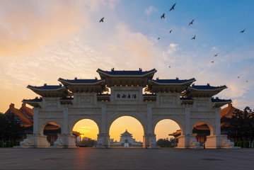 National Chiang Kai-shek Memorial Hall under sunset sky in the evening at Taipei, Taiwan. Wall mural