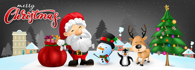 Funny Christmas Greeting Card, With Santa Claus, Deer, Snowman and penguin, vector illustration.