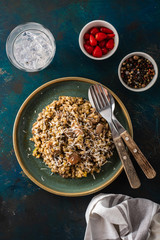 Barley porridge with mushrooms and chicken, top view