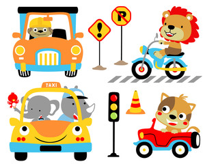 Vector cartoon illustration of vehicles theme set with funny driver. Eps 10