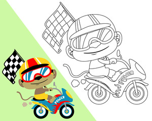 Coloring book with motor racer cartoon. Vector illustration. Eps 10
