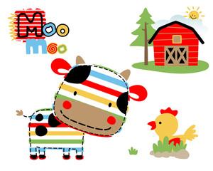 Vector illustration of farmland cartoon with funny animals