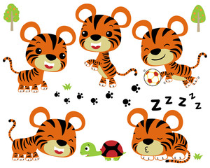 Vector cartoon illustration of little tiger with turtle