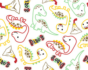 Seamless pattern vector with dinosaurs cartoon.