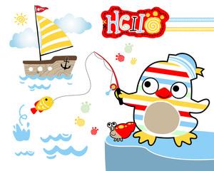 Vector illustration of penguin cartoon fishing with sailboat