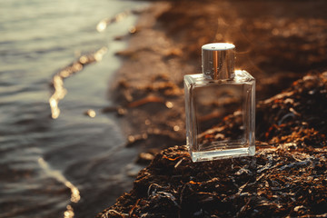 male perfume on the beach at sunset
