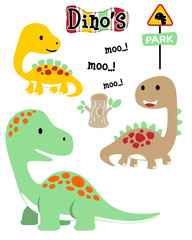 set of dinosaurs cartoon
