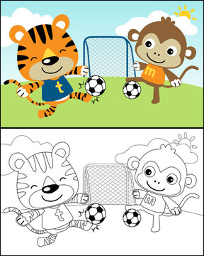 coloring book or page with funny animals playing soccer