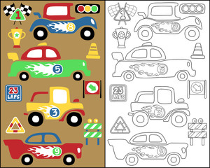 coloring book or page with race cars