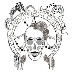 vector graphics black and white illustration of a skull with decorated round frame.