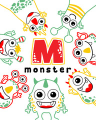 set of funny monster vector cartoon
