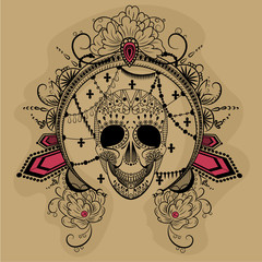 vector graphics clored illustration of a skull with decorated round frame and red diamonds.