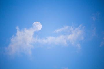 Cielo con nuvola e luna