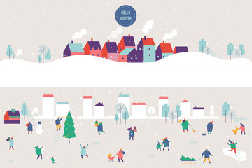 Winter outdoor activities. Snowy city background. People walking,having fun. Flat vector illustration.