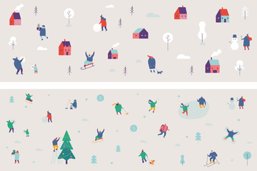 Winter people pattern set. Winter season background people characters. People have outdoor activities.Flat vector illustration.