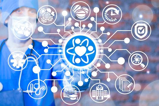 Doctor push a heart atom button on a virtual screen. Science Health Medicine Research. Core Values Healthcare concept.