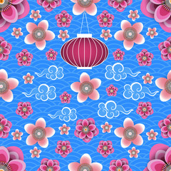 Chinese New Year. Chinese lantern, Chinese clouds, plum and peach flowers. Blue background with pattern. Seamless pattern.