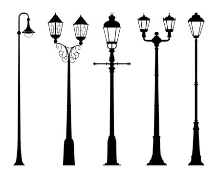 Vector set of street lantern silhouettes in retro style isolated on white background. Wall sticker. Illustration for design.
