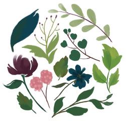 Set of floral branch bugundy marsala pink and navy blue flower vintage green leaves Wedding concept with flowers  arrangements for greeting card or invitation design