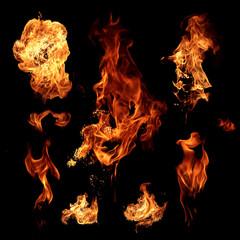 Staande foto Vlam Fire flames on black background