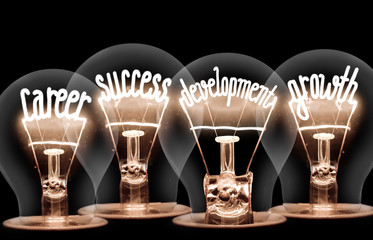 Light bulbs concept - Career, Success, Development, Growth