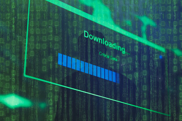 Closeup of Download Process Bar on LCD Screen