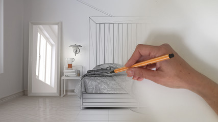 Architect interior designer concept: hand drawing a design interior project while the space becomes real, scandinavian bedroom with wooden headboard