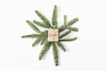 Christmas time. Present on branches and white background. Modern style