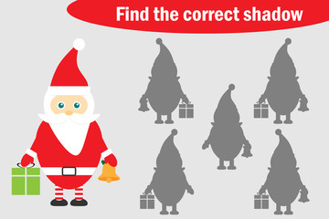 Find the correct shadow, christmas game for children, cartoon santa claus, education game for kids, preschool worksheet activity, task for the development of logical thinking, vector illustration