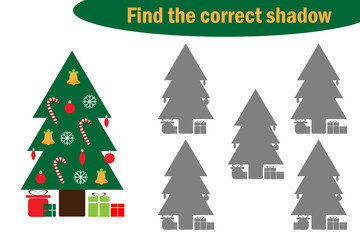 Find the correct shadow, game for children, christmas tree in cartoon style, education game for kids, preschool worksheet activity, task for the development of logical thinking, vector illustration