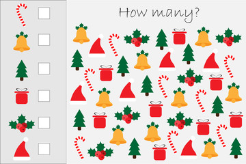 How many counting game with xmas pictures for kids, educational maths task for the development of logical thinking, preschool worksheet activity, count and write the result, vector illustration