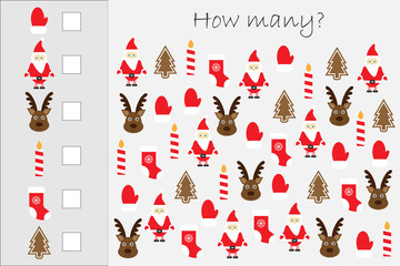 How many counting game with christmas pictures for kids, educational maths task for the development of logical thinking, preschool worksheet activity, count and write the result, vector illustration