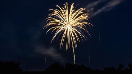 Colorful bavarian fireworks at Landau - Isar - Bavaria - Germany