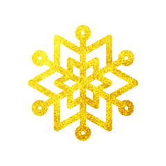 Snowflake golden icon. Christmas and winter theme
