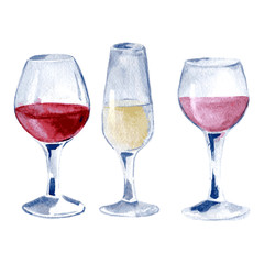 Glasses of wine: red, white, pink. Hand drawn watercolor illustration of isolated. Vector