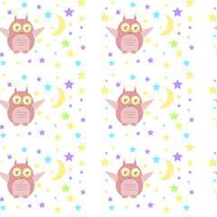 Vector seamless pattern with cute owl. Can be used for baby shop, store, market, kids centre, kindergarten. Background for banner, decoration, wallpaper. EPS10