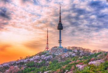 Foto op Aluminium Seoel Namsan tower in spring at seoul south Korea