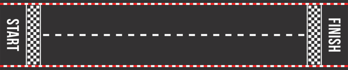 Karting racing road. Start and finish lines. Asphalt road or speedway with marking in top view
