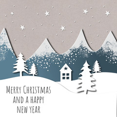 Artistic paper cut Christmas card design