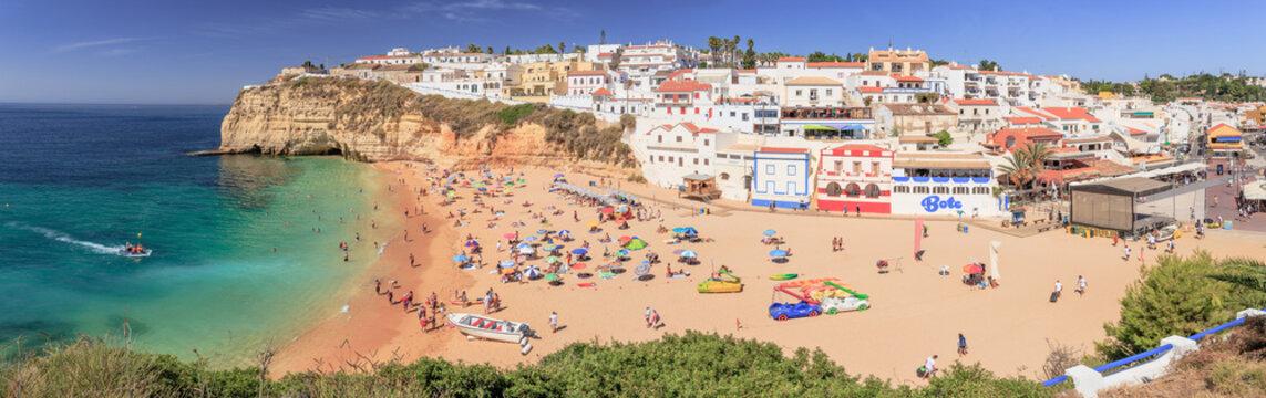 Beach life in Carvoeiro at the Algarve Coast in Portugal