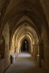 gloom hall of the monastery of Santa María de Huerta, Soria, Spain