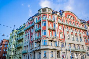 Immeubles au bord de La Vltava à Prague