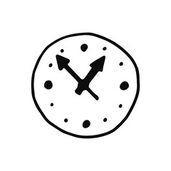 clock icon. isolated object sketch black on white background