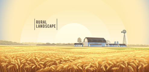 Autumn rural landscape with wheat field on the foreground and farm, on the back plan. Wall mural