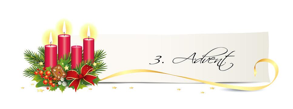 Advent Banner mit Kerzen, Karte, goldene Sterne und Schleife 3. Advent,  Adventsgesteck, Vektor Illustration isoliert auf weißem Hintergrund