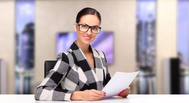 TV host, Female television announcer at studio